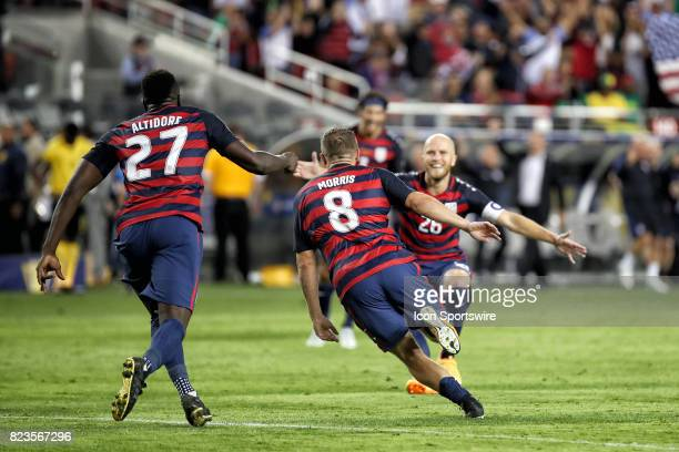 United States forward Jordan Morris celebrates with teammates after scoring a goal during the CONCACAF Gold Cup Final match between the United States...