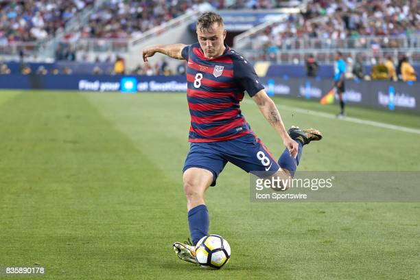 United States forward Jordan Morris kicks the ball during the CONCACAF Gold Cup Final match between the United States v Jamaica at Levi's Stadium on...