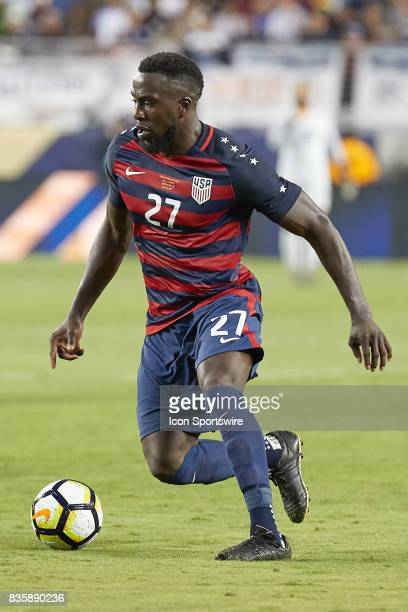 United States forward Jozy Altidor dribbles the ball during the CONCACAF Gold Cup Final match between the United States v Jamaica at Levi's Stadium...