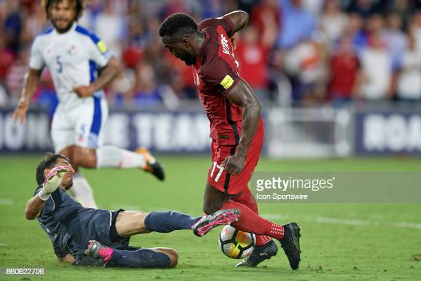 United States forward Jozy Altidore battles with Panama goalkeeper Jaime Penedo for the ball during the World Cup Qualifying match between the the...