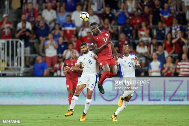 United States forward Jozy Altidore battles with Panama midfielder Gabriel Gomez and Panama defender Michael Murillo for a header during the World...