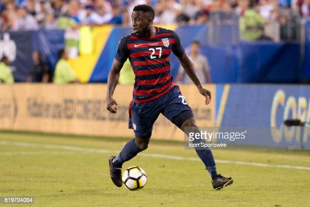 United States Forward Jozy Altidore carries the ball in the second half during the CONCACAF Gold Cup Quarterfinal game between the United State and...