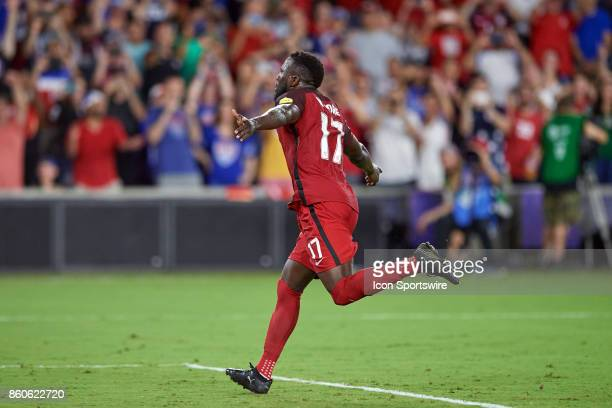 United States forward Jozy Altidore celebrates after scoring a goal during the World Cup Qualifying match between the the United States and Panama on...