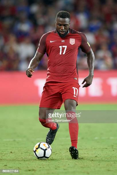 United States forward Jozy Altidore dribbles the ball during the World Cup Qualifying match between the the United States and Panama on October 6...