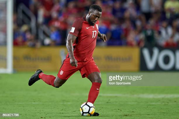 United States forward Jozy Altidore kicks the ball during the World Cup Qualifying match between the the United States and Panama on October 6 2017...