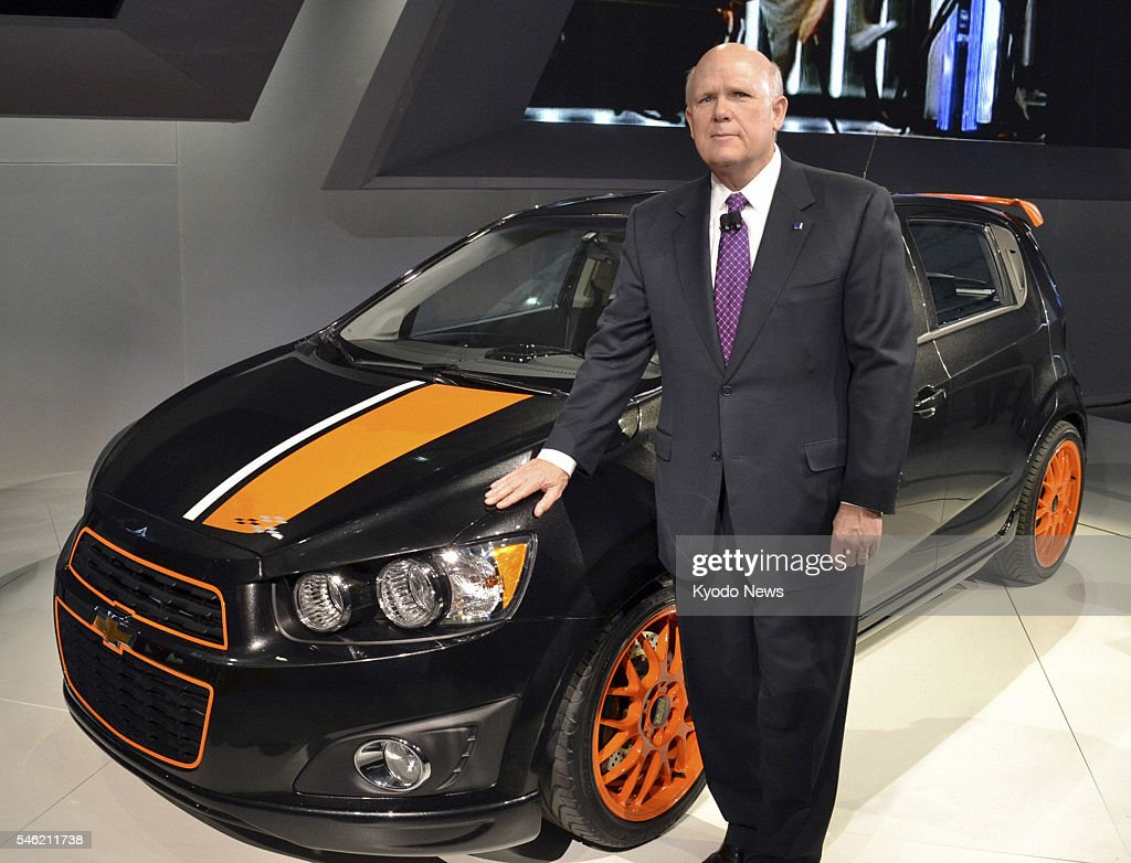 DETROIT, United States - General Motors Co. Chief Executive Officer Dan Akerson stands beside the Chevrolet Sonic, a compact car with promising fuel efficiency, which was unveiled for the first time at the annual North American International Auto Show in Detroit, Michigan, on Jan. 10, 2011.
