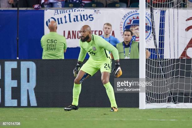 United States goal keeper Tim Howard defends the goal during a CONCACAF Gold Cup Quarterfinal match between the United States v El Salvador at...