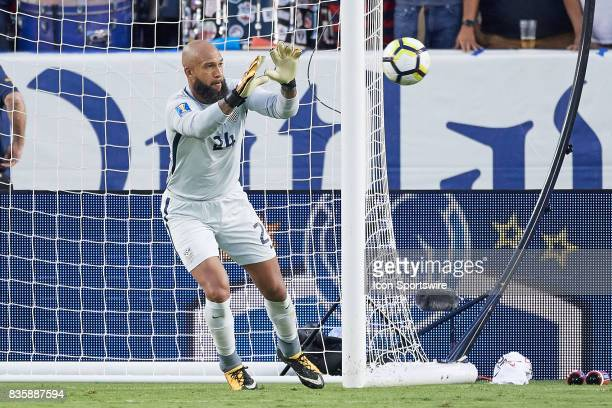 United States goalkeeper Tim Howard blocks a shot during the CONCACAF Gold Cup Final match between the United States v Jamaica at Levi's Stadium on...