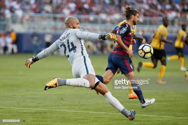United States goalkeeper Tim Howard kicks the ball during the CONCACAF Gold Cup Final match between the United States v Jamaica at Levi's Stadium on...