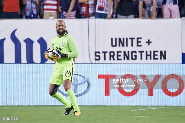 United States goalkeeper Tim Howard looks down field during a CONCACAF Gold Cup Quarterfinal match between the United States v El Salvador at Lincoln...