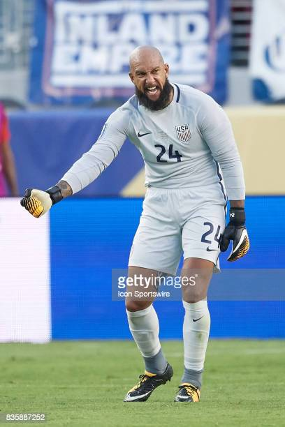 United States goalkeeper Tim Howard reacts during the CONCACAF Gold Cup Final match between the United States v Jamaica at Levi's Stadium on July 26...