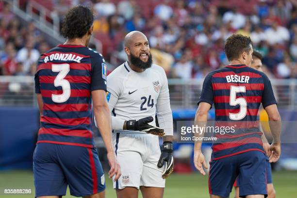 United States goalkeeper Tim Howard reacts toward teammates during the CONCACAF Gold Cup Final match between the United States v Jamaica at Levi's...
