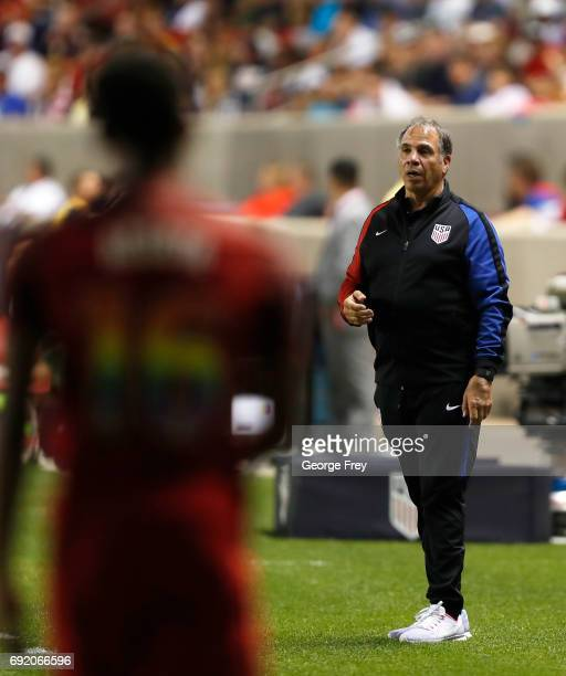 United States head coach Bruce Arena directs his players during the second half of an international friendly soccer game against Venezuela on June 3...