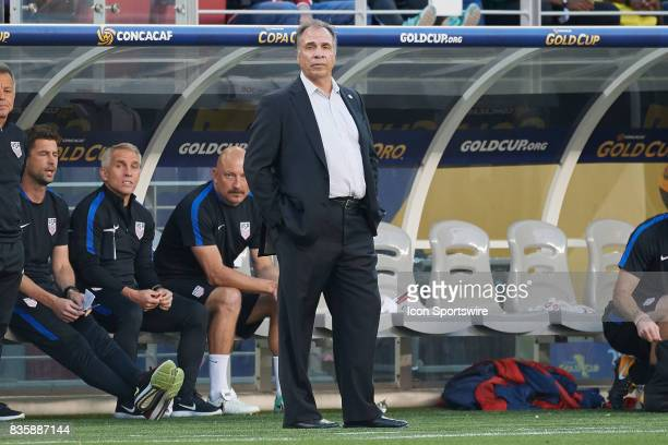 United States head coach Bruce Arena looks on during the CONCACAF Gold Cup Final match between the United States v Jamaica at Levi's Stadium on July...