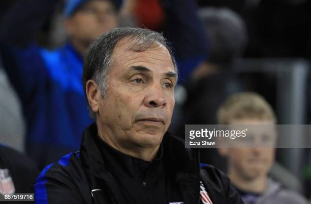 United States head coach Bruce Arena stands for the National Anthem before their game against Honduras their FIFA 2018 World Cup Qualifier at Avaya...