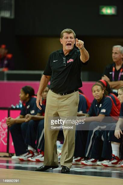 United States head coach Geno Auriemma points against Angola at the Olympic Park Basketball Arena during the London Olympic Games on July 30 2012 in...