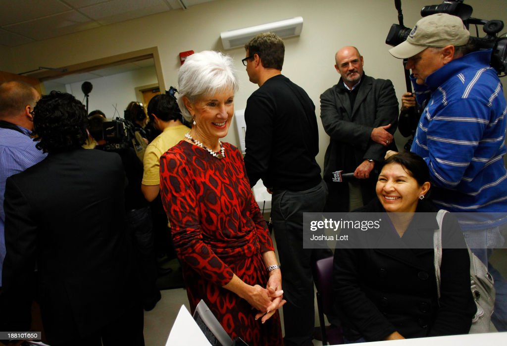 United States Health and Human Services Secretary <a gi-track='captionPersonalityLinkClicked' href=/galleries/search?phrase=Kathleen+Sebelius&family=editorial&specificpeople=700528 ng-click='$event.stopPropagation()'>Kathleen Sebelius</a> talks to patient Maria Gonzalez, (R) about the Affordable Care Act at Community Health and Social Services Center (CHASS) November 15, 2013 in Detroit, Michigan. Sebelius, who has been the center of attention in U.S. President Barack Obama's administration for the failed rollout of Healthcare.gov, says the health care act has yet to be successful.