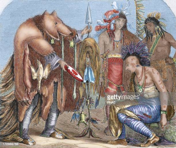United States Indians Iroquois and Chippewa doctors residents of Lake Superior and Lake Arkansas Colored engraving 1878