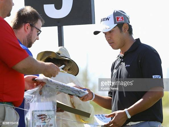 MARANA United States Japanese professional golfer Hideki Matsuyama gives his autograph to fans on Feb 18 during a practice round for the World Golf...