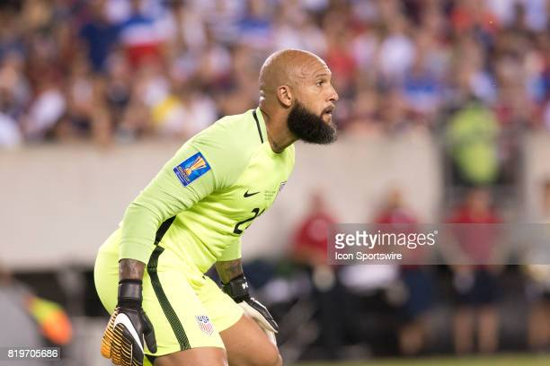 United States Keeper Tim Howard readies to make a save in the first half during the CONCACAF Gold Cup Quarterfinal game between the United State and...