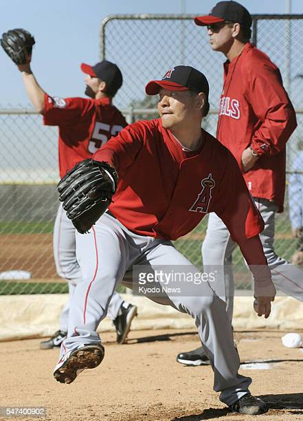 TEMPE United States Los Angeles Angels pitcher Hisanori Takahashi pitches on the first day of spring training camp in Tempe Arizona on Feb 14 2011