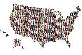USA United States map multicultural group of people integration immigration diversity isolated