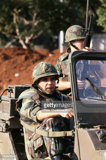 United States Marine Commander General James Joy arrives in a jeep to give a press conference after 8 US Marines where killed when a shell landed on...