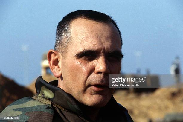United States Marine Commander General James Joy speaks to the media at an outdoor press conference after 8 US Marines where killed when a shell...