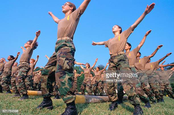 United States Marine Corps Cadets Doing Jumping Jacks