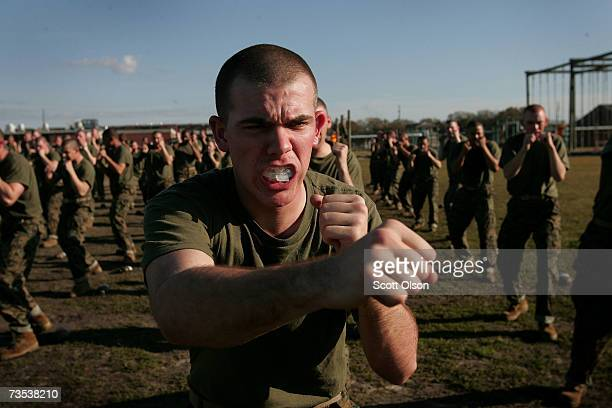 United States Marine Corps recruit Allan Fenley of Erlanger Kentucky throws a punch during martial arts training March 7 2007 at Parris Island South...