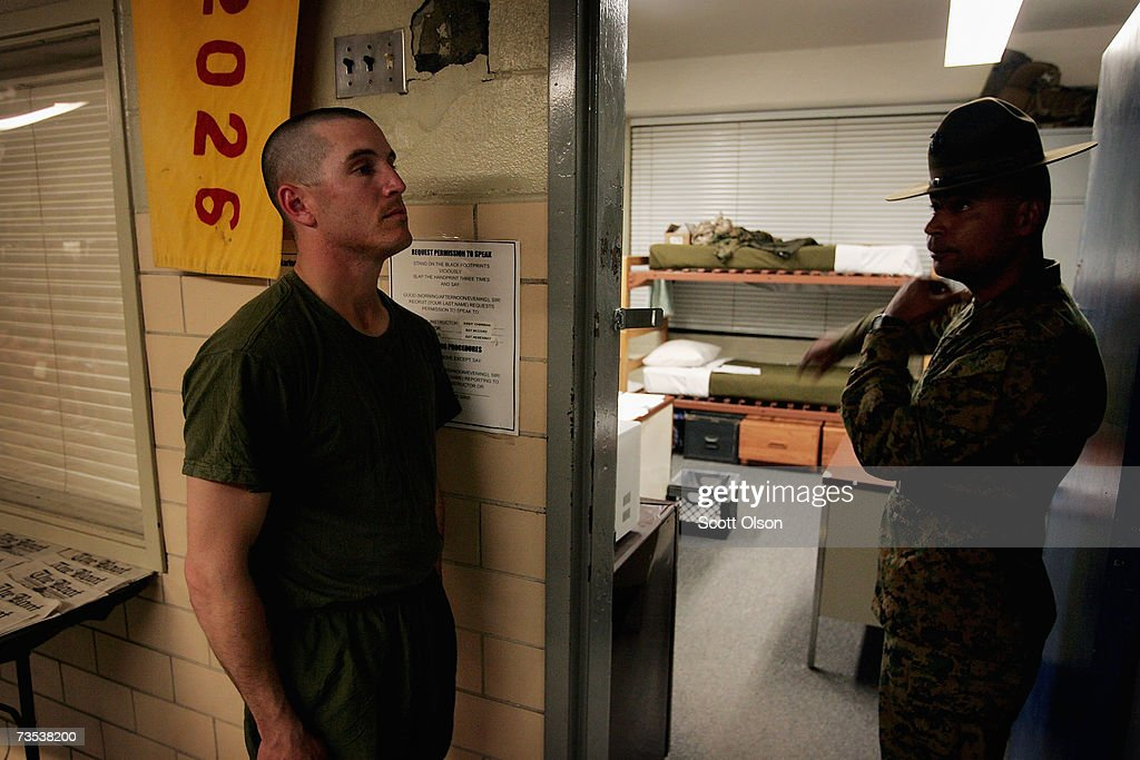United States Marine Corps recruit Scott Littlefield Mandeville Louisiana requests permission to speak to his senior drill instructor Staff Sergeant...