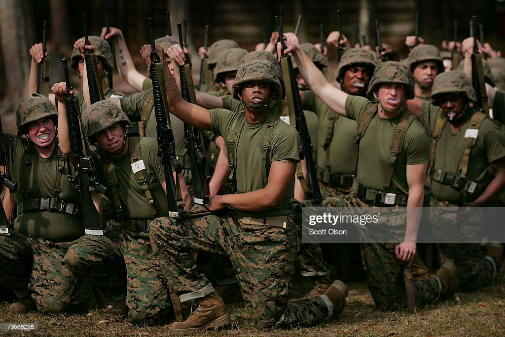 United States Marine Corps recruits prepare for bayonet training during boot camp March 8 2007 at Parris Island South Carolina The Department of...