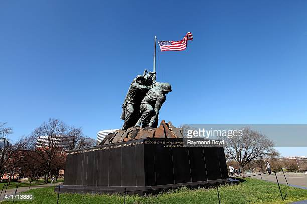 United States Marine Corps War Memorial Iwo Jima statue outside Arlington National Cemetery on April 11 2015 in Arlington Virginia