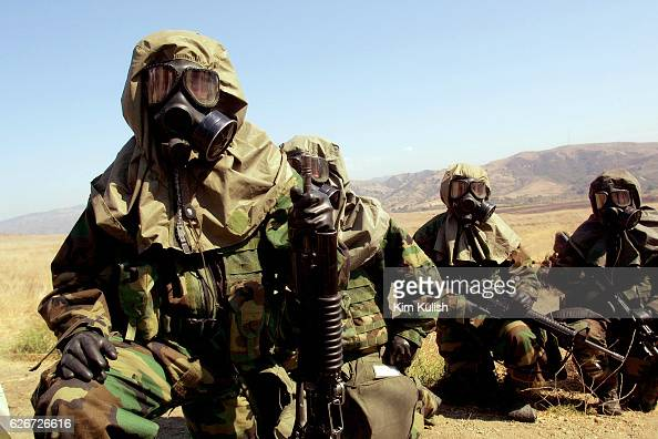 United States Marines from the 2nd Battalion 4th Regiment at Camp Pendleton participate in exercises to protect themselves in nuclear biological and...