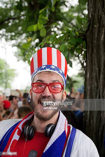 United States Men's National Soccer Team fan poses near Grant Park during the telecast of the match between the US and Portugal on June 22 2014 in...
