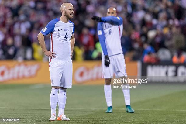 United States Men's National Team player Michael Bradley looks on in the first half during the FIFA 2018 World Cup Qualifier at MAPFRE Stadium on...