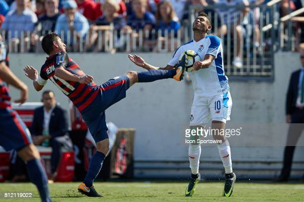 United States midfielder Alejandro Bedoya battles with Panama forward Ismael Diaz for a loose ball during a CONCACAF Gold Cup Group B match between...