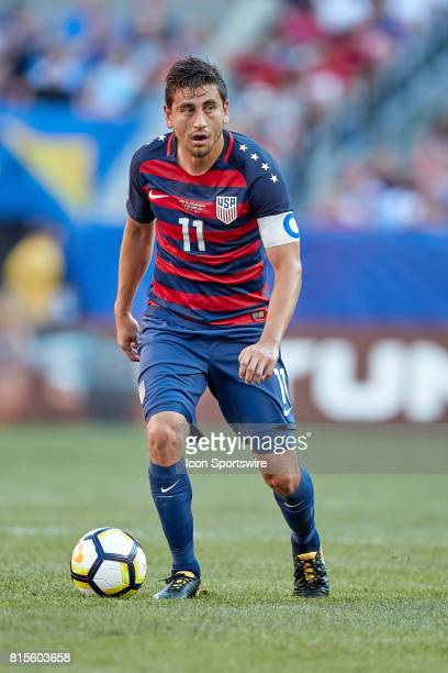 United States midfielder Alejandro Bedoya dribbles the ball during a CONCACAF Gold Cup Group B match between the United States v Nicaragua at...