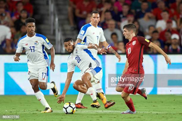United States midfielder Christian Pulisic battles with Panama midfielder Anibal Godoy and Panama defender Luis Ovalle during the World Cup...