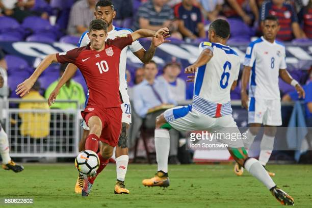 United States midfielder Christian Pulisic battles with Panama midfielder Gabriel Gomez during the World Cup Qualifying match between the the United...