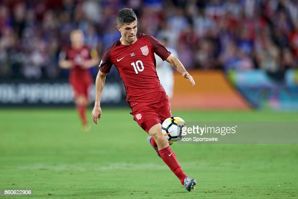 United States midfielder Christian Pulisic chases the ball during the World Cup Qualifying match between the the United States and Panama on October...