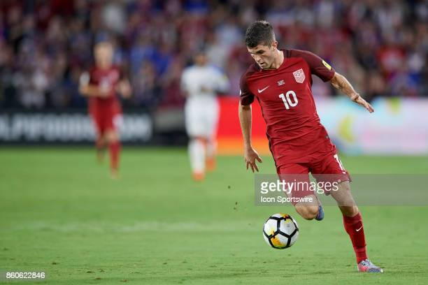 United States midfielder Christian Pulisic controls the ball during the World Cup Qualifying match between the the United States and Panama on...