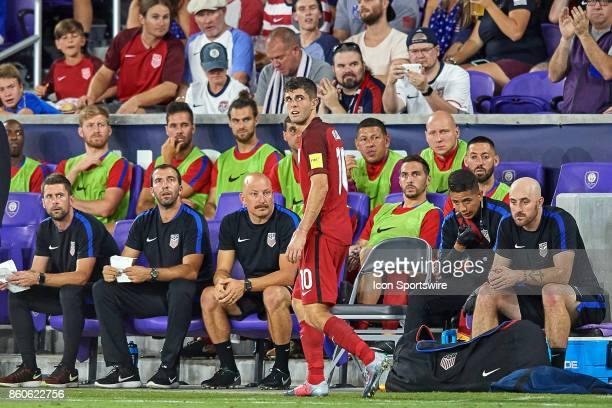 United States midfielder Christian Pulisic looks at the score board during the World Cup Qualifying match between the the United States and Panama on...