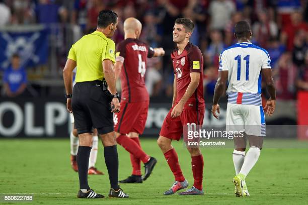 United States midfielder Christian Pulisic reacts to a call with the referee during the World Cup Qualifying match between the the United States and...