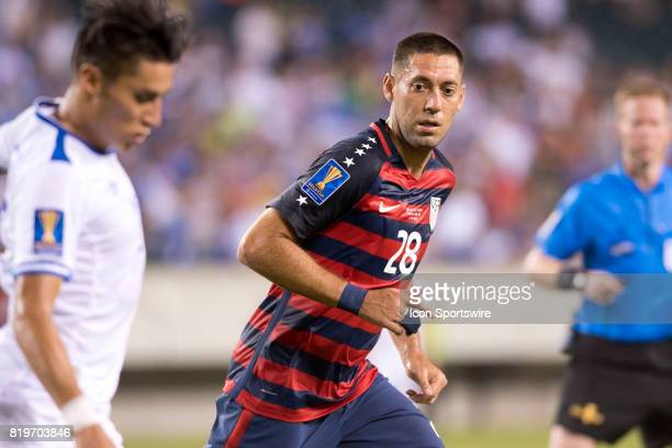 United States Midfielder Clint Dempsey watches the ball in the second half during the CONCACAF Gold Cup Quarterfinal game between the United State...