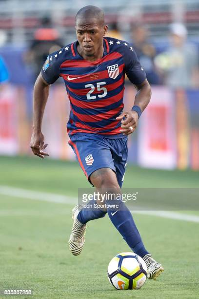 United States midfielder Darlington Nagbe dribbles the ball during the CONCACAF Gold Cup Final match between the United States v Jamaica at Levi's...