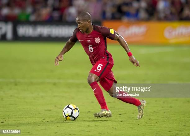 United States midfielder Darlington Nagbe dribbles the ball during the World Cup Qualifier soccer match between the USA Mens National Team and Panama...