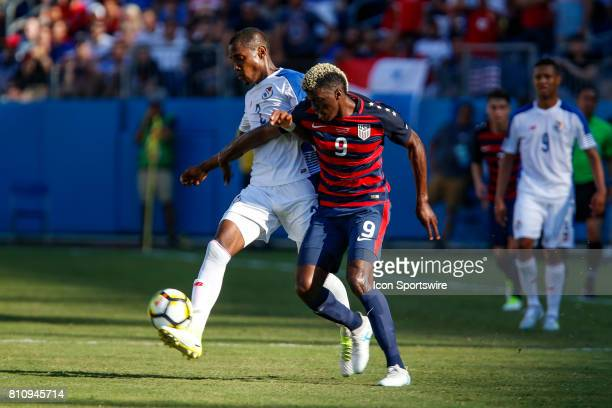 United States midfielder Gyasi Zardes battles Panama defender Michael Amir Murillo during the CONCACAF Gold Cup soccer match between USA and Panama...