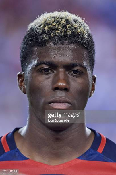 United States midfielder Gyasi Zardes looks on during a CONCACAF Gold Cup Quarterfinal match between the United States v El Salvador at Lincoln...