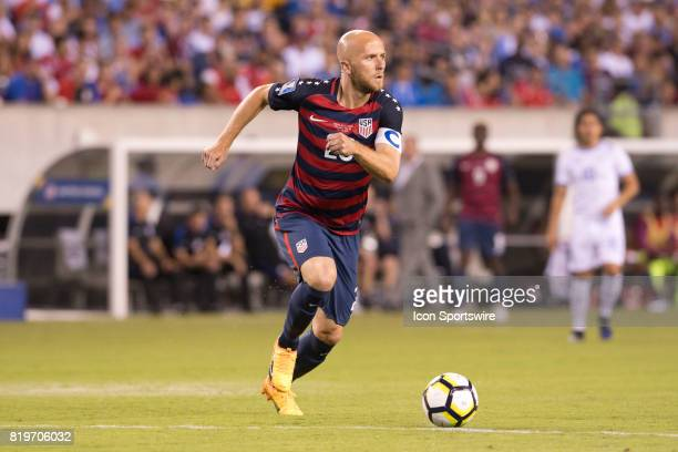 United States Midfielder Michael Bradley carries the ball in the first half during the CONCACAF Gold Cup Quarterfinal game between the United State...